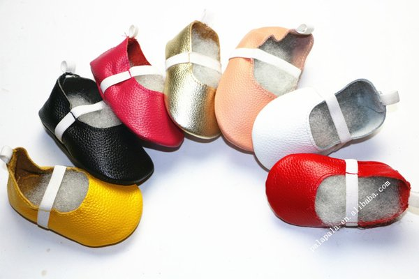 Wholesale- Gold candy color Genuine Leather Baby Moccasins Children Soft Sole Girls Ballet Shoes Ballerina flats Dance Shoes For Kids girls