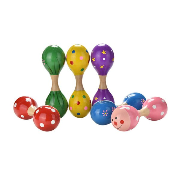 Wholesale- Baby Kids Double Head Sand Hammer Rattles Musical Instrument Percussion Toy Colorful Babies Learning Wooden Ball Rattle Toy