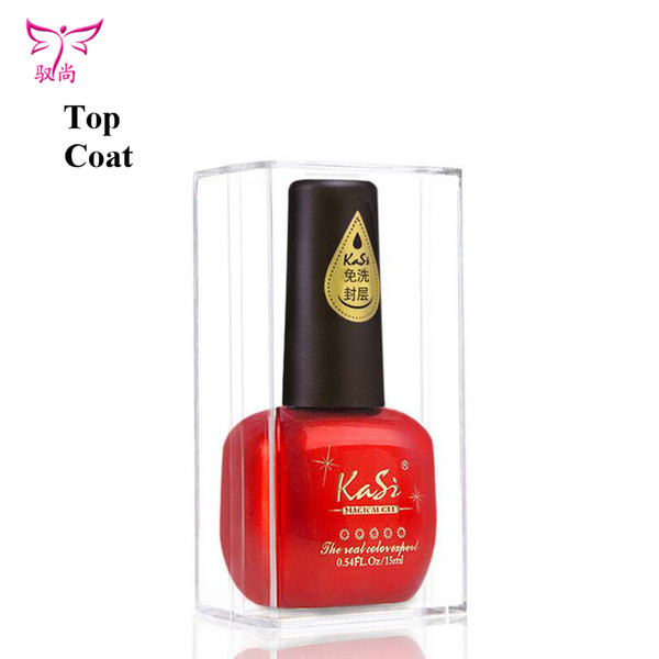 Wholesale-Kasi 15ml top coat nail gel polish no wipe lasting gel polish prefessional nail art polish transparent soak off top coat