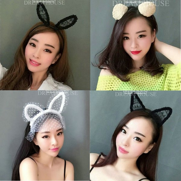 Woman headdress hair Sexy accessories with black and white lace veil in rabbit and cat ears Headband Tiara photography props