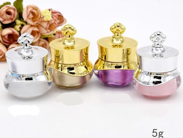 100pcs free shipping 5g Crown Plastic Refillable Bottles Empty Pot Aroma Bottles Makeup Jar Travel Face Cream Lotion Cosmetic Container