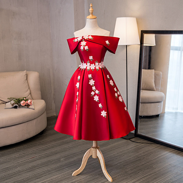 In Stock Really Photo Red Boat Neck Short Sleeve Plus Size Prom dresses Tea-Length Turquoise Party Dress Off The Shoulder 0403B