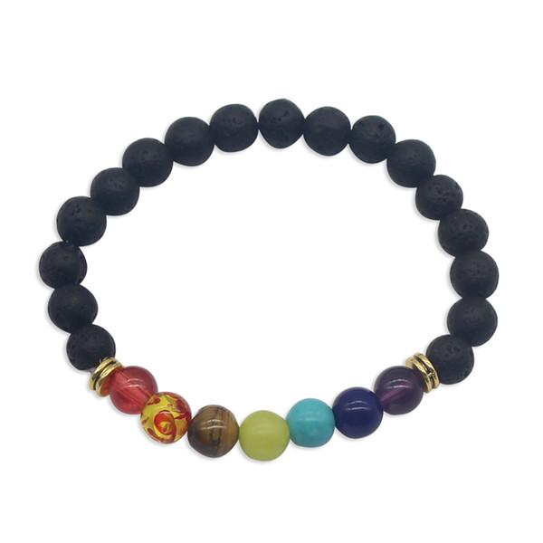 Perles multicolores ethniques bracelet en pierre volcanique 8MM oeil de tigre perles de lave en résine noire Bracelets perlés chakra bracelet de charme de corde souple