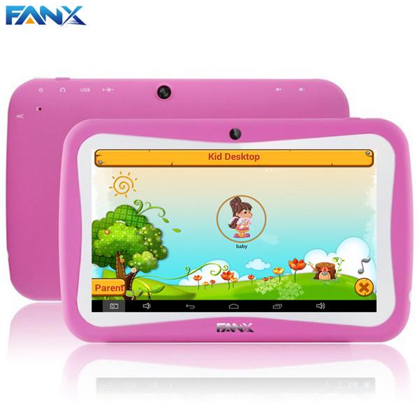 Wholesale- Frete Grátis 7 polegada M755E RK2926 Crianças Crianças Tablet PC com Capa Robusto Dual Câmeras Android 4.1 EDU Jogos de Almofada Caçoa o Presente