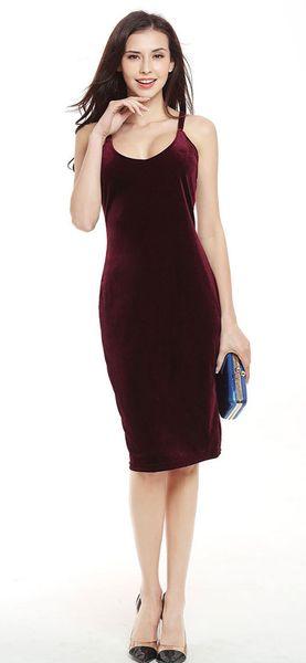 Kadın V Yaka Kadife Geri Çapraz Casual Clubwear Parti Kayma Elbise Vestidos Boyutu: S M L XL XXL LY768