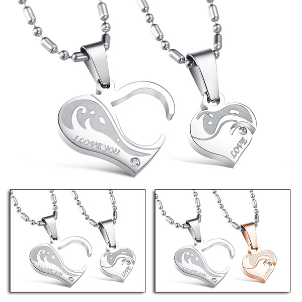 New Stainless Steel CZ Couples Pendants Necklaces Charm Heart Shaped Lock Key Crystal Pendant Chain Necklace Xmas Romantic Gift for Lovers