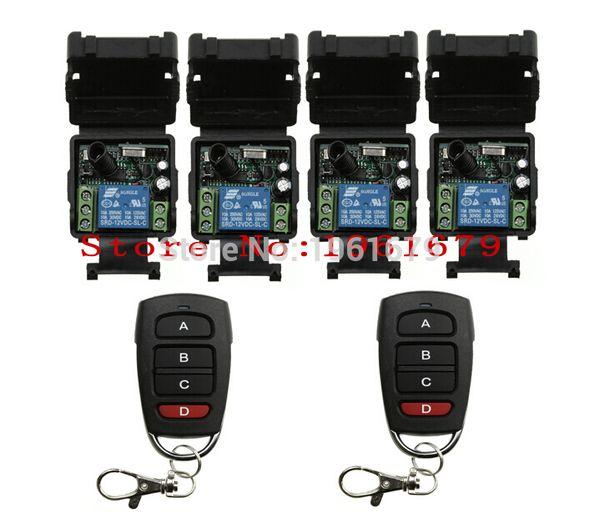 Wholesale-DC 12 v 1CH mini wireless remote control switch 4 piece receiver&2 piece transmitter garage door / window /lamp