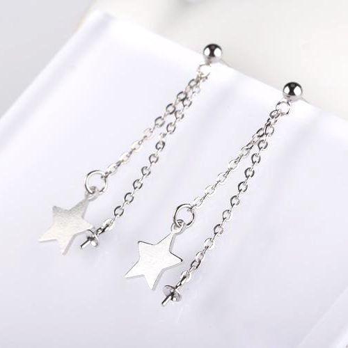 Fine Silver 925 Sterling Silver 6mm Pearl or Round Bead Semi Mount Women Earrings Stars
