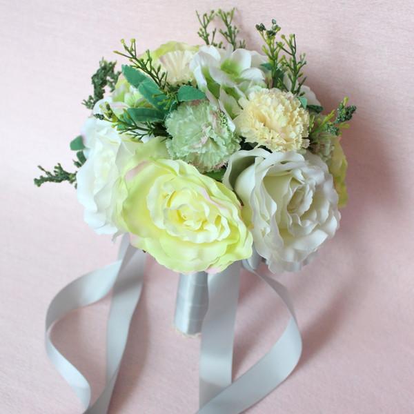Bouquets de Casamento fresco da Praia Do País 2017 Hot Light Marfim Amarelo Verde Nupcial Bridesmaids Feito à Mão Flores Do Casamento de Alta Qualidade EN9183