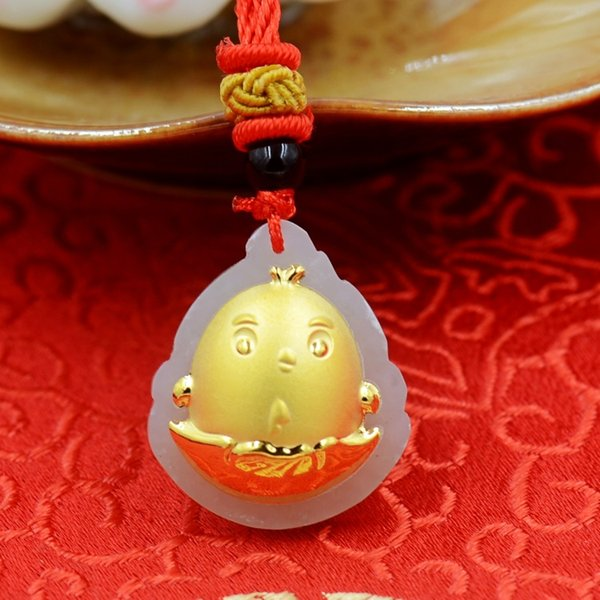 2019 Year Of Rooster Chicken Out Of Egg Boutique Pendant Hetian White Jade  4D Shape Thick 24K Gold Pendant Necklace Size 2 5cm*2 1cm*0 6cm Charms From
