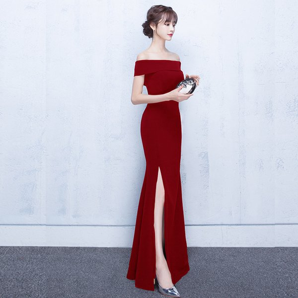 DH676 New Arrive Sexy Lace 4Colors Cheongsam Retro Elegant Long Cheongsam Red Chinese Traditional Wedding Dresses Party Dress