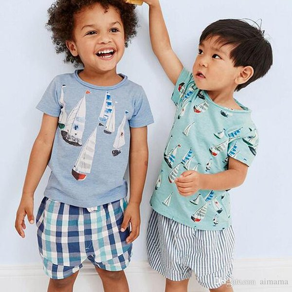 Free Shipping 2 Pieces Baby Boys Clothing Sets Sailboat Printing Short Sleeve Summer Kids Clothing T-Shirt+Pants With High Quality