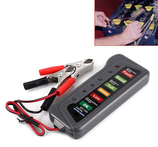 2019 New Motorcycle Battery Tester 12V Car Battery Alternator Diagnostic Tool with 6 LED Digital Display12V T16897 For Cars Motorbikes