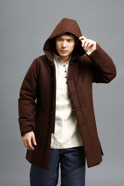 Al por mayor-Nuevo invierno para hombre Parka Coat hombres estilo chino retro algodón acolchado lino chaqueta gruesa capa con capucha chaquetas de alta calidad