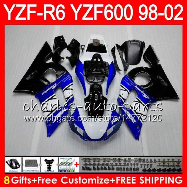 8Gifts 23Color For YAMAHA YZF600 YZFR6 98 99 00 01 02 YZF-R600 54HM3 YZF 600 blue black YZF-R6 YZF R6 1998 1999 2000 2001 2002 Fairing kit