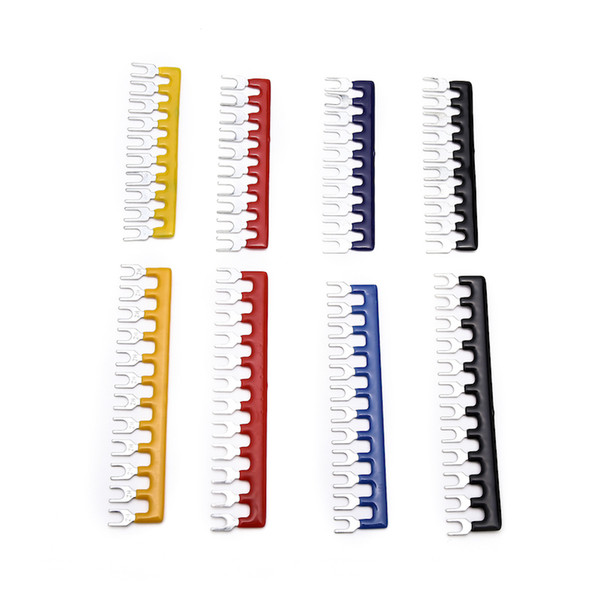 best selling suyep Barrier Strip Terminal Block Pre Insulated Fork Type Jumper Connector 15A 12 Positions Red Black Blue Yellow Color TB1512 TBD-10A