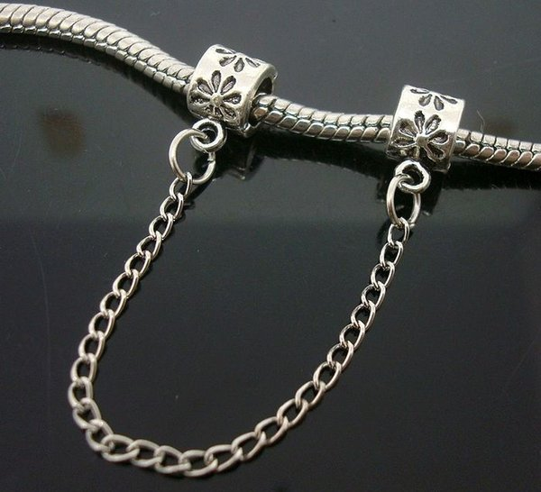 20pcs/Lot Silver Flowers Safety Chain Charm Bead Floral stamped For Charm Bracelet Beads for Jewelry Making Low Price