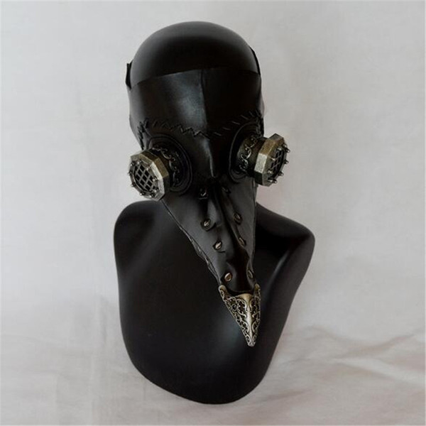 Free Shipping Hot Steampunk Plague Bird Mask Doctor Mask Long Nose Cosplay Fancy Mask Exclusive Gothic Retro Rock Leather Halloween Cosplay