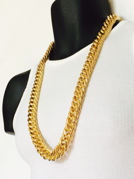Mens Miami Cuban Link Curb Chain 14k Real Yellow Solid Gold GF Hip Hop 11MM Thick Chain JayZ Epacket FREE SHIPPING