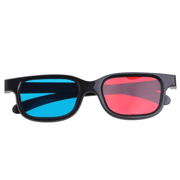 Al por mayor-Fashion Universal Black Frame Red Blue Cyan Anaglyph 3D Glasses 0.2 mm para el juego de película DVD