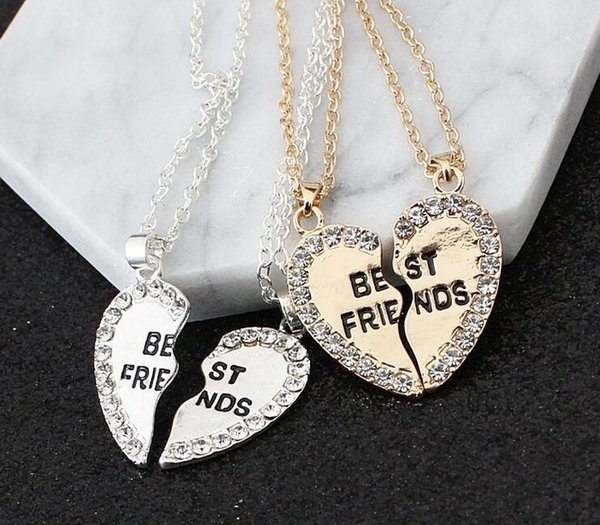 2017 Hot sale High-grade Heart pendant in English alloy sautoir Fashion two good friends necklace set auger best friends necklace