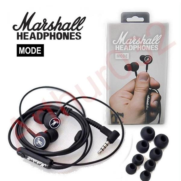 Marshall MODE Headphones In Ear Headset Audífonos negros con micrófono HiFi Ear Buds Headphone Universal para Android iOS Teléfono VS Marshall Major