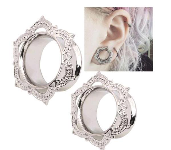 Nueva Moda 10 unids Tapones para los Oídos 6mm-12mm Medidores Rhombus Angles Joyería Del Cuerpo de Cobre Oro Túnel Del Oído de Plata para Hombres Mujeres