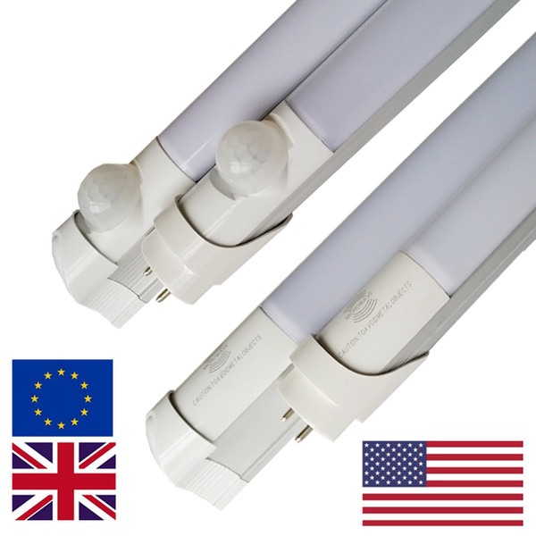 Microwave Radar LED Tube T8 18W Motion Sensor Integrated 4Ft led t8 tubes light G13 2835 0W/3W function for underground parking lights