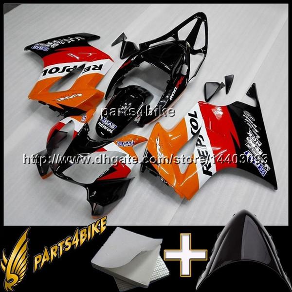 23colors + Gifts Cubierta de motocicleta REPSOL ORANGE para HONDA VFR800 2002-2008 VFR800 02 08 Carenado de plástico ABS