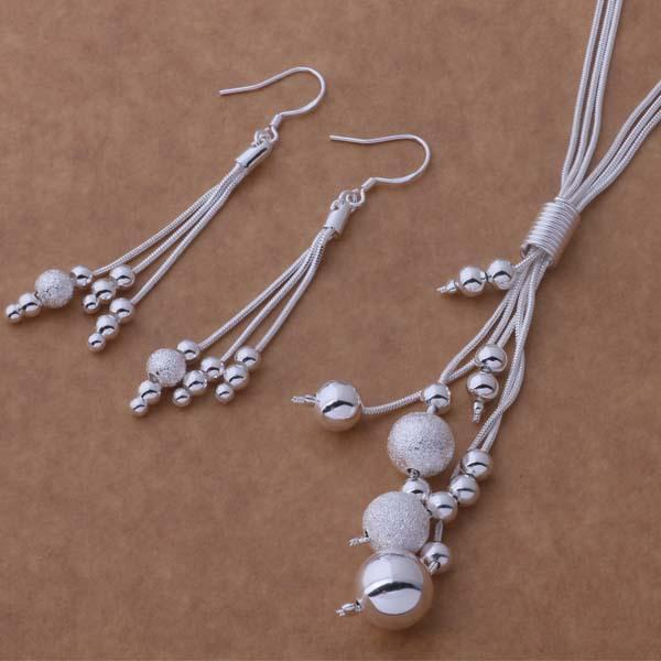 925 silver plated set of frosted glass beads earrings necklace beautiful U.S. foreign trade jewelry wholesale
