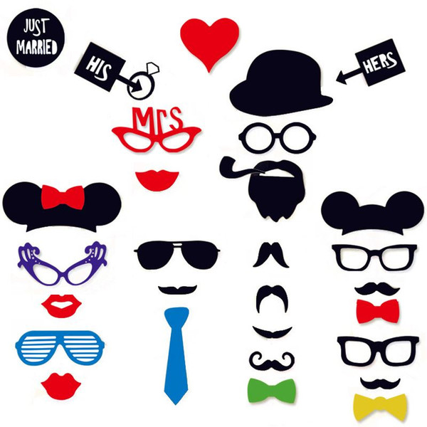 31pcs Party Photo Booth Funny Glasses Moustache Christmas Birthday Party Supplies Wedding Decoration Photo Props