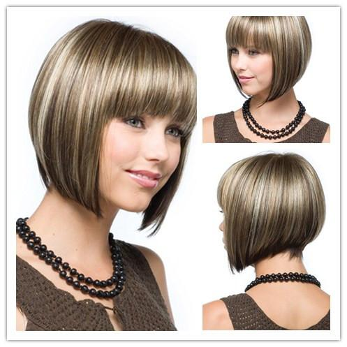 Xiu Zhi Mei Hot sell New Fashion Mix Color Medium Straight Bob Hairstyle Synthetic Hair Wigs For Women With Full Bangs