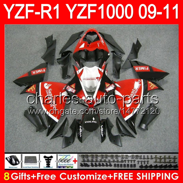 8gifts Santander red Body For YAMAHA YZFR1 09 10 11 YZF-R1 09-11 95NO78 YZF 1000 YZF R 1 YZF1000 YZF R1 2009 2010 2011 Santander red Fairing