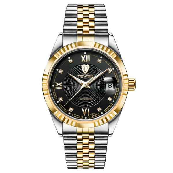 Treaure Mens Dress Watches Luxury TEVISE Business Men Automatic Mechanical Stainless Steel Military Watch