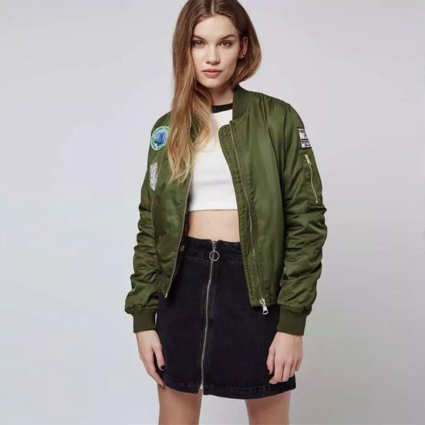 lace up in enjoy free shipping sale retailer Wholesale Retro Style Olive Green Bruce Patch Detail MA1 Bomber Jacket  Edged With Tonal Ribbed Trim Women Pilot Cosplay Outfits Coat Outdoor  Jackets ...
