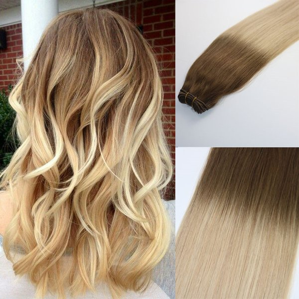 Human Hair Weave Ombre Dye Color Brazilian Virgin Hair Weft Bundle Extensions Balayage Three Tone 24#Blonde Highlights Thick End