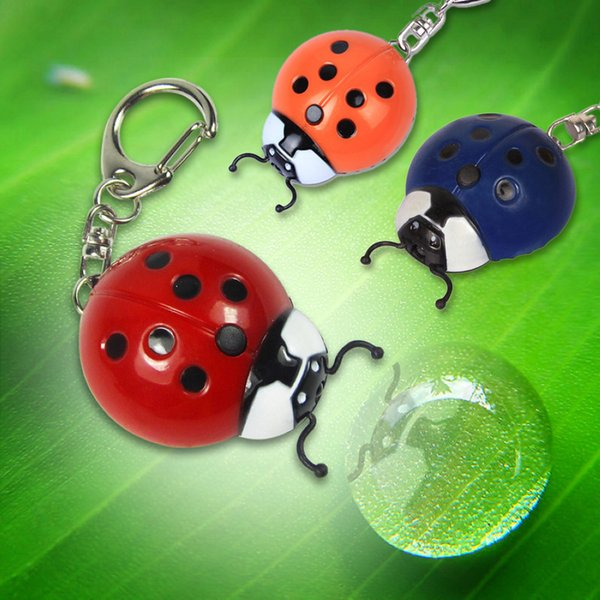 Promotions gift Parkson new electronic LED Ladybird insects Keychain lights Beetle mobile phone Strap