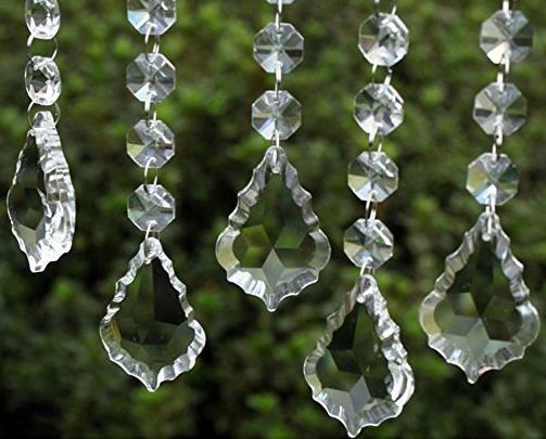 Clear Acrylic Crystal Pendants Hanging Bead Drape Garland Wall Panel Wedding Decor Garland Tassel Screen Christmas Tree DIY party Decorative