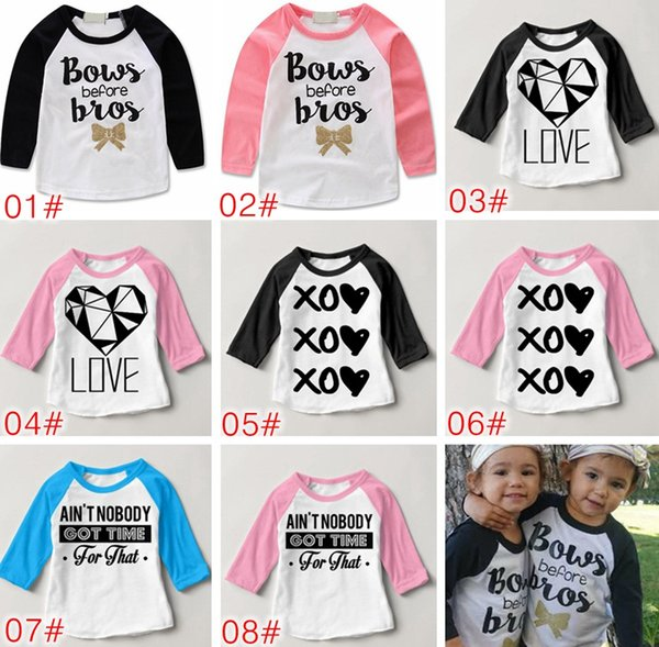 top popular INS Bows Before Bros Shirt Raglan Toddler Bow Shirt Baby Girl Twin Sister Clothes Gold Baby Girl Shirt Hipster Tops Photo Prop 2020