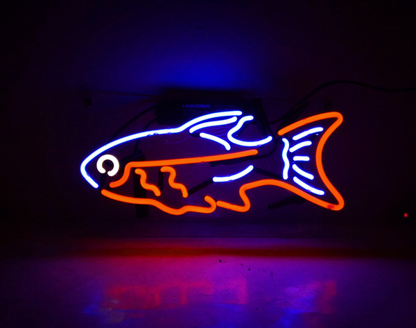 17*14 inches New Tat tire Neon Beer Sign Bar Sign Real Glass Neon Light Beer Sign TN 160 Tropical fish 15x10 blue red 001