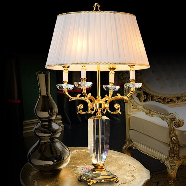 2019 Model European Style Club Table Lamp Villa Living Room Large Model Room Villa Sofa Tea Table Lamp New House Luxury Crystal Table Lamps From