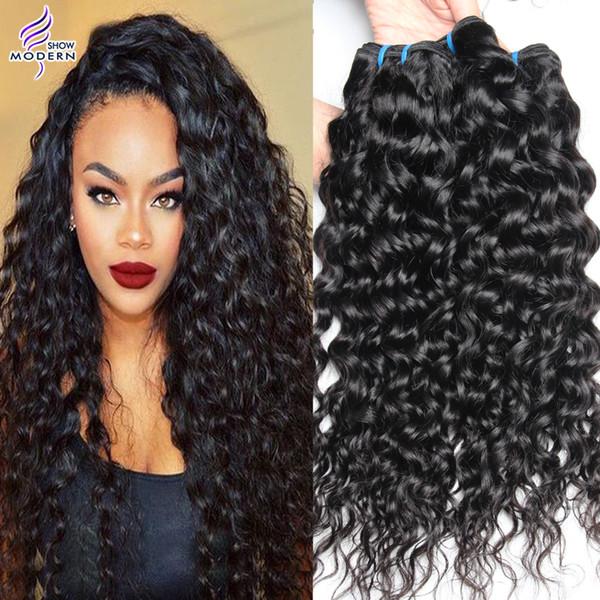 Malaisienne Vierge Cheveux Humides et Ondulés Vague Malaisienne Vague de Cheveux Humains Extensions 3 Bundles Malaisienne Cheveux Tisse Naturel Noir 1b Couleur