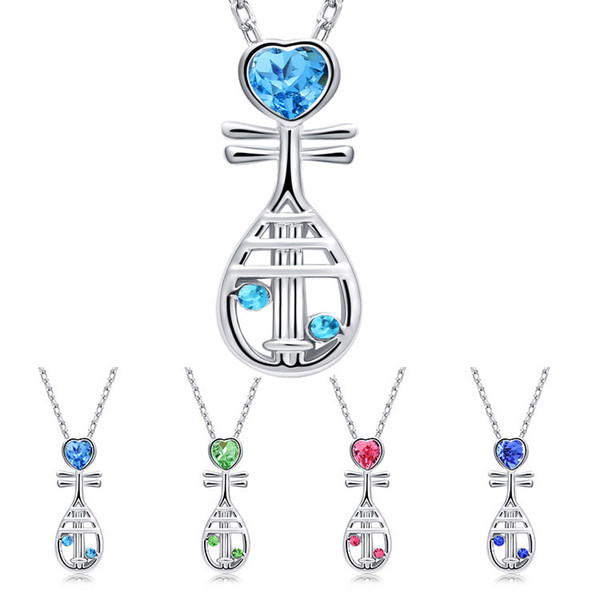 Chinese Musical Instrument Crystal Heart Pipa Necklace Silver Chain Crystal Diamond Pendant Fashion Jewelry Gift for Women Kids 162334