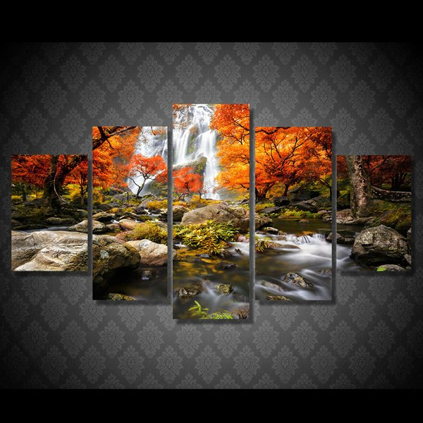 5 Pcs/Set Framed HD Printed Waterfall Maple Tree Picture Wall Art Canvas Room Decor Poster Canvas Abstract Oil Painting