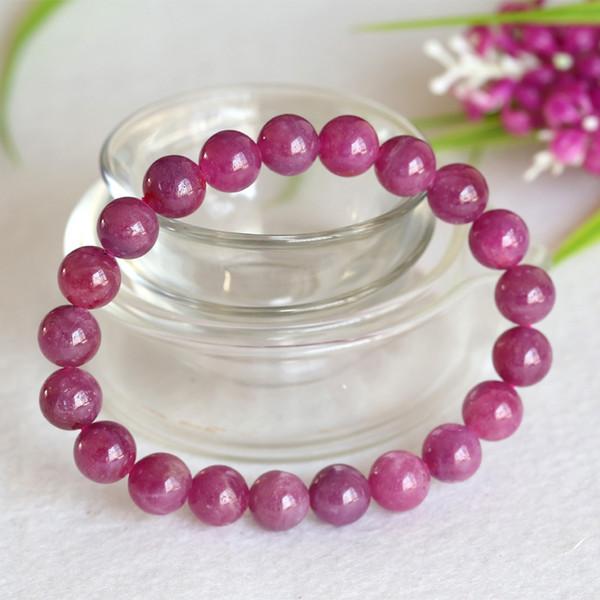 Commercio all'ingrosso di alta qualità Naturale Genuine Pink Red Ruby Bracciale Smooth Round beads Braccialetti finiti Stretch 9mm 04354
