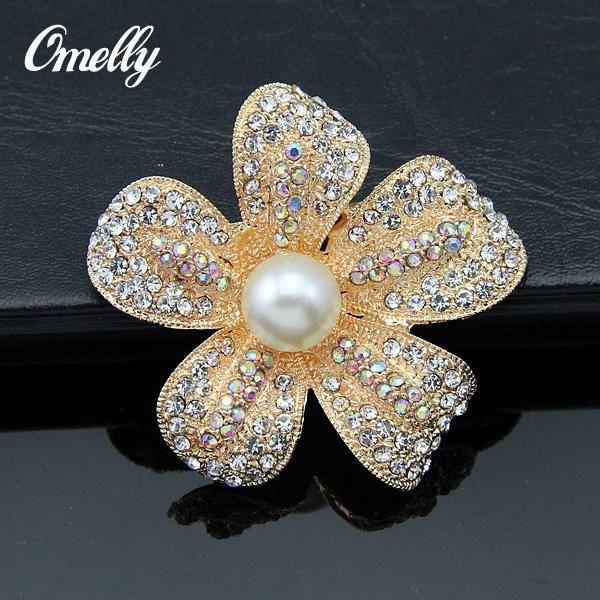 Fashion Vintage Gold Filled Brooch Pin Crystal Rhinestone Brooch Flower Broach Bridal Pearl Brooch Pins Sapphire Wedding Dress Brooches