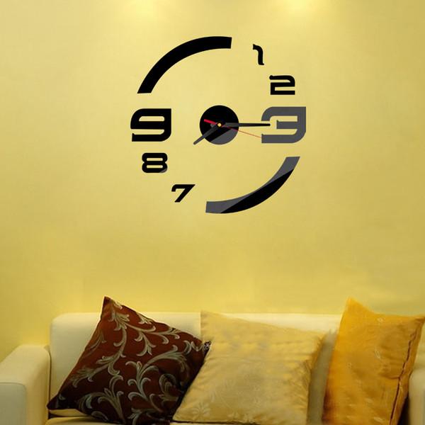 Wholesale Diy Modern Design Wall Clock 3d Mirror Clocks Reloj De ...