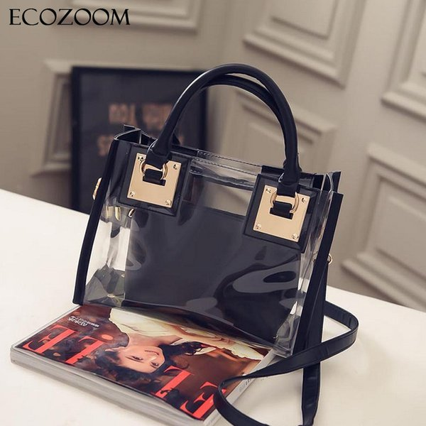 Wholesale- Europe Fashion Women Transparent PVC Handbag Summer Sweet Lady Jelly Clear Plastic Beach Bag Candy Color Shoulder Bags Tote Bag