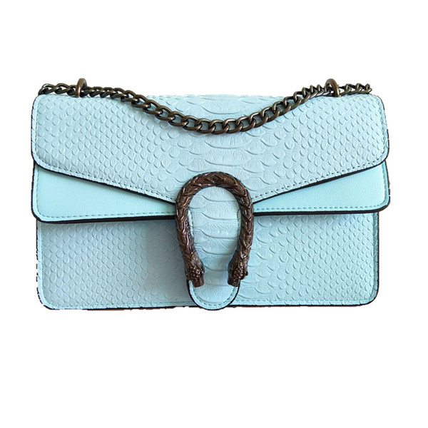 Fashion Women Crossbody Bag Female Pure Color Double Snake Head Chains Handbag Ladies Classic Brief All Matched Hasp Alligator Shoulder Bag