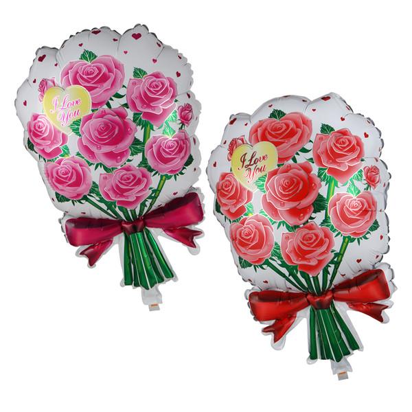 Acheter Rose Fleur Imprimer Ballon Feuille10 Couleurs Saint Valentin Roses Bouquet De Mariée Ballons Anniversaire Nouvel An Décoration Ballon De